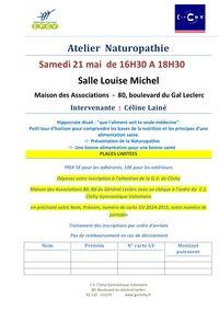 Atelier Naturopathie samedi 21 mai